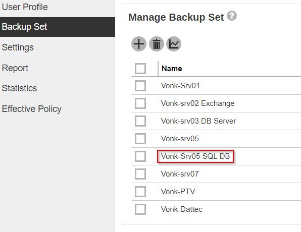 screenshot van BackupEverything beheer van back-up set